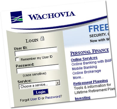 Wachovia Login Screen